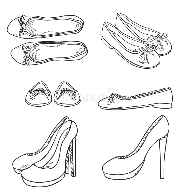 传染媒介套剪影妇女鞋子 边,前面和顶视图 向量例证