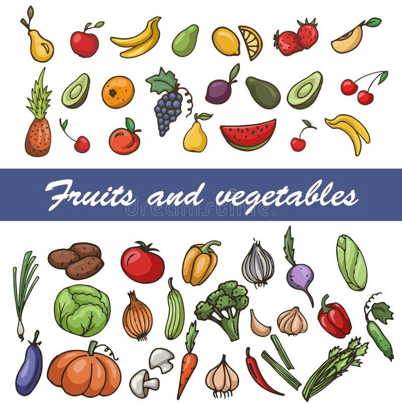 传染媒介套剪影水果和蔬菜 免版税库存照片