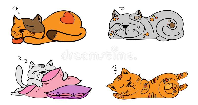 传染媒介套动画片图象逗人喜爱的另外猫颜色激动行动和 向量例证
