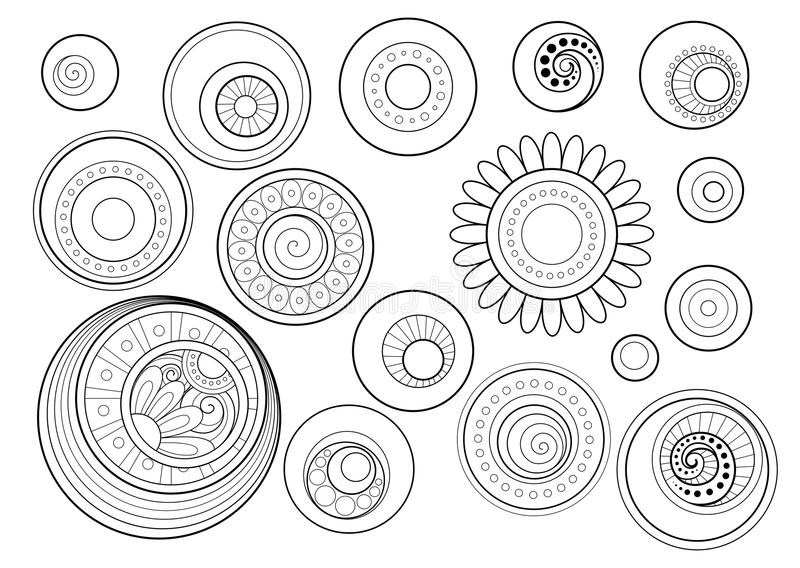 传染媒介套单色等高花卉乱画 向量例证