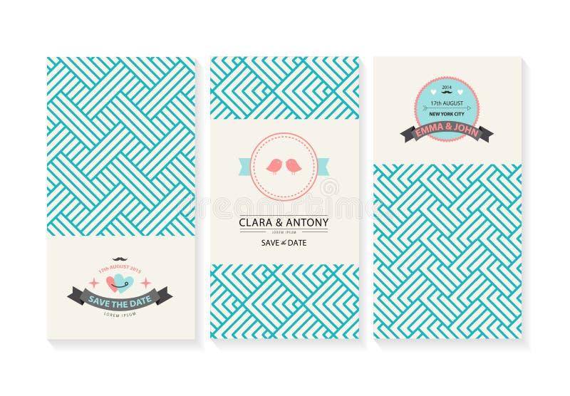 传染媒介套卡片,婚姻的邀请与 皇族释放例证