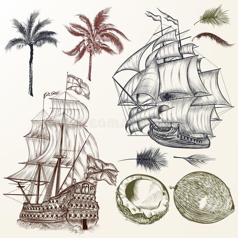 传染媒介套古董船和棕榈在葡萄酒样式 库存例证