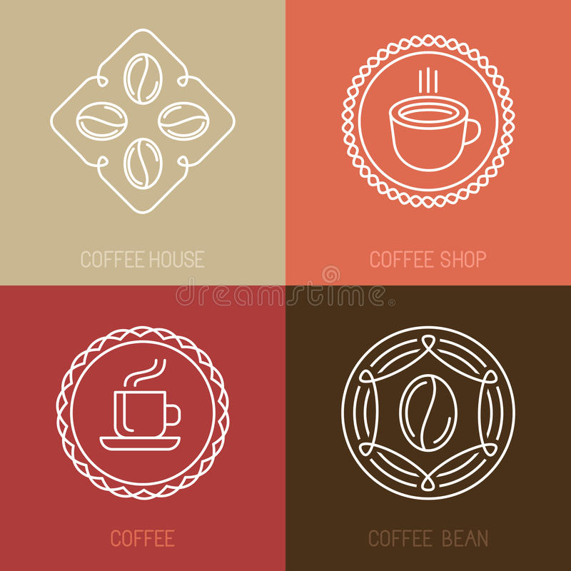 传染媒介套咖啡商标和象 向量例证