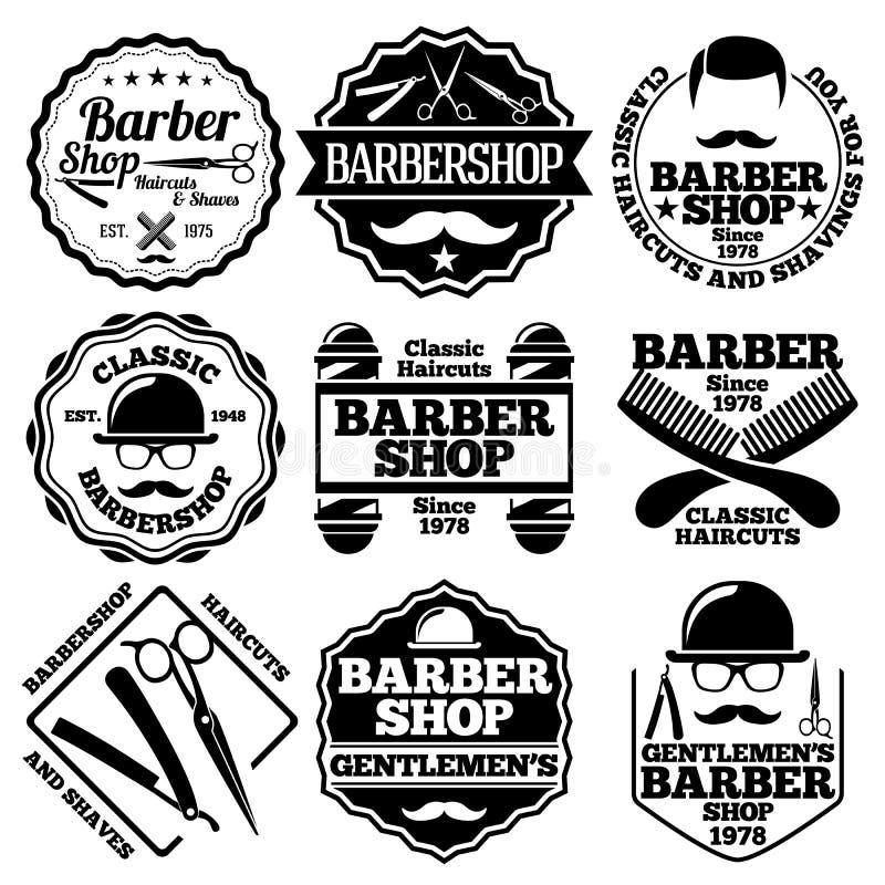 传染媒介套商店的等理发师标签 库存例证