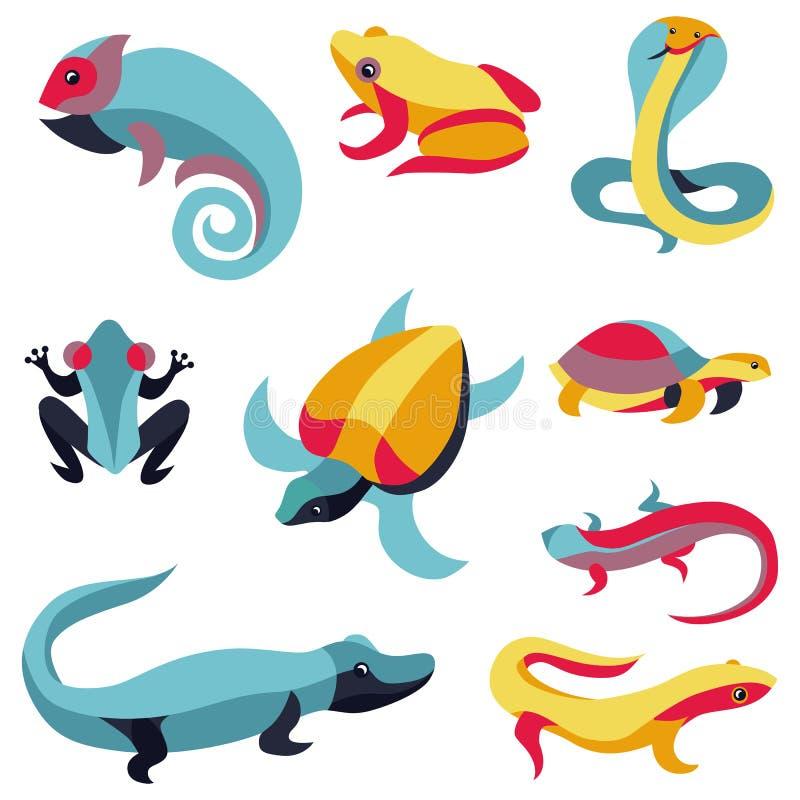 传染媒介套商标设计元素-爬行动物 向量例证