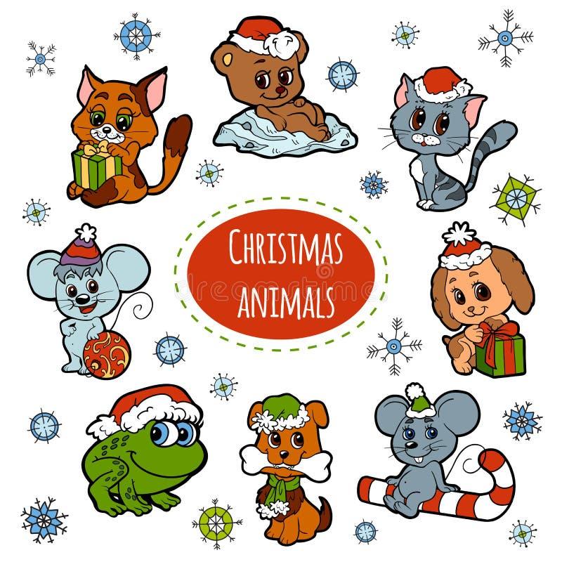 传染媒介套圣诞节逗人喜爱的动物,颜色贴纸 库存例证
