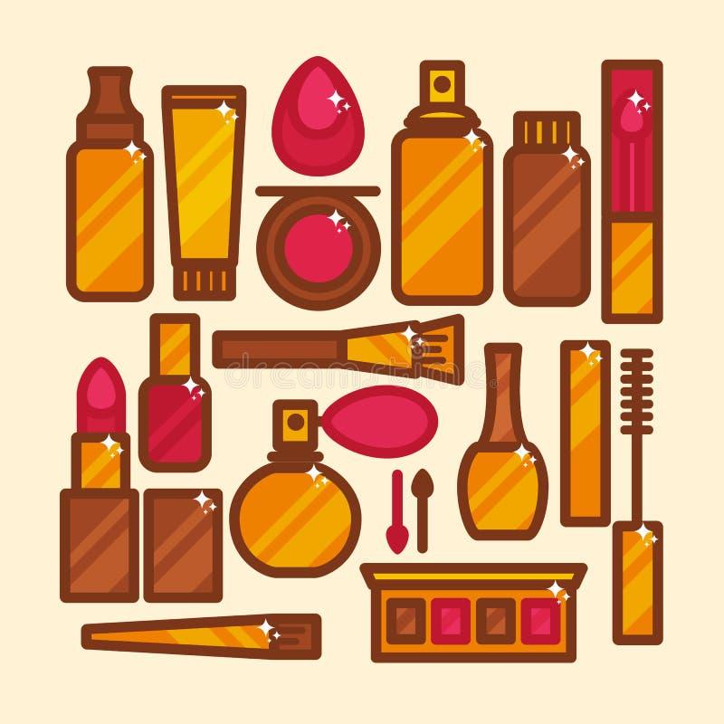 传染媒介套在一个平的样式的象化妆用品 库存例证