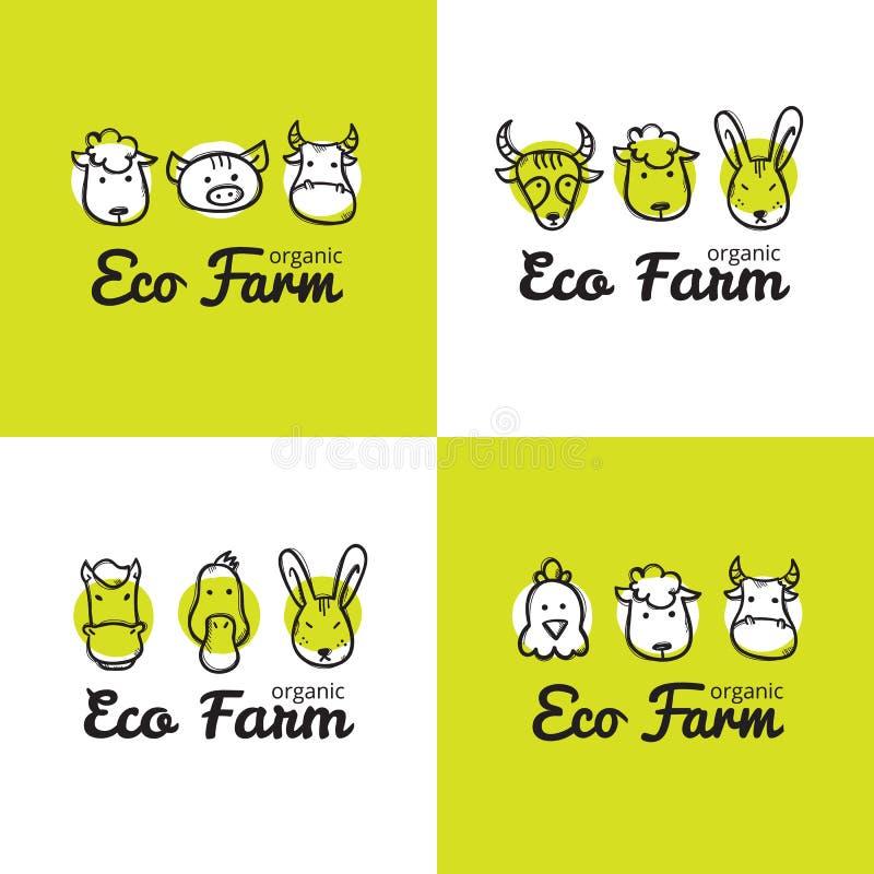 传染媒介套在乱画样式的逗人喜爱的eco农厂商标 概略牲口商标 向量例证