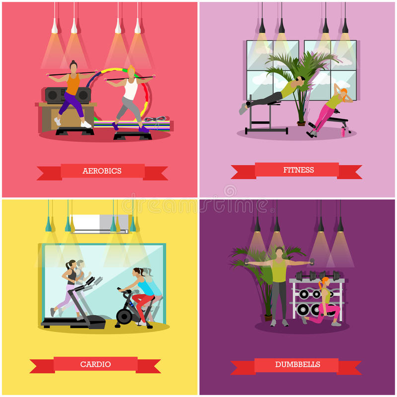 传染媒介套在健身房的锻炼,平的设计 皇族释放例证