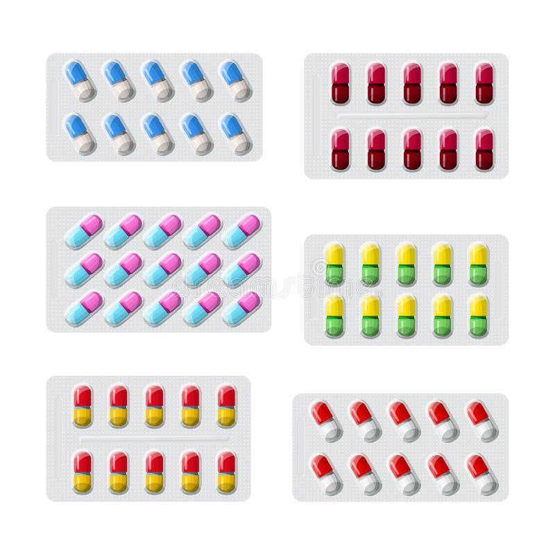 传染媒介套在包装平的样式的各种各样的医疗药片 皇族释放例证
