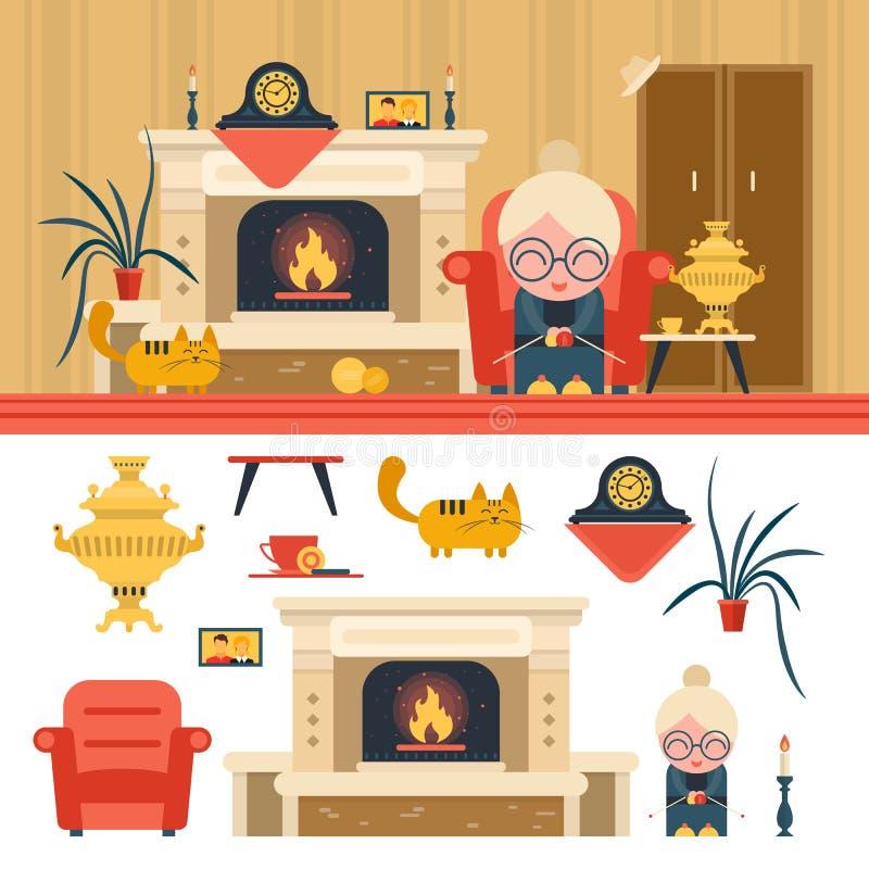 传染媒介套在平的样式的房子客厅内部对象 坐在椅子的祖母在壁炉旁边 库存例证