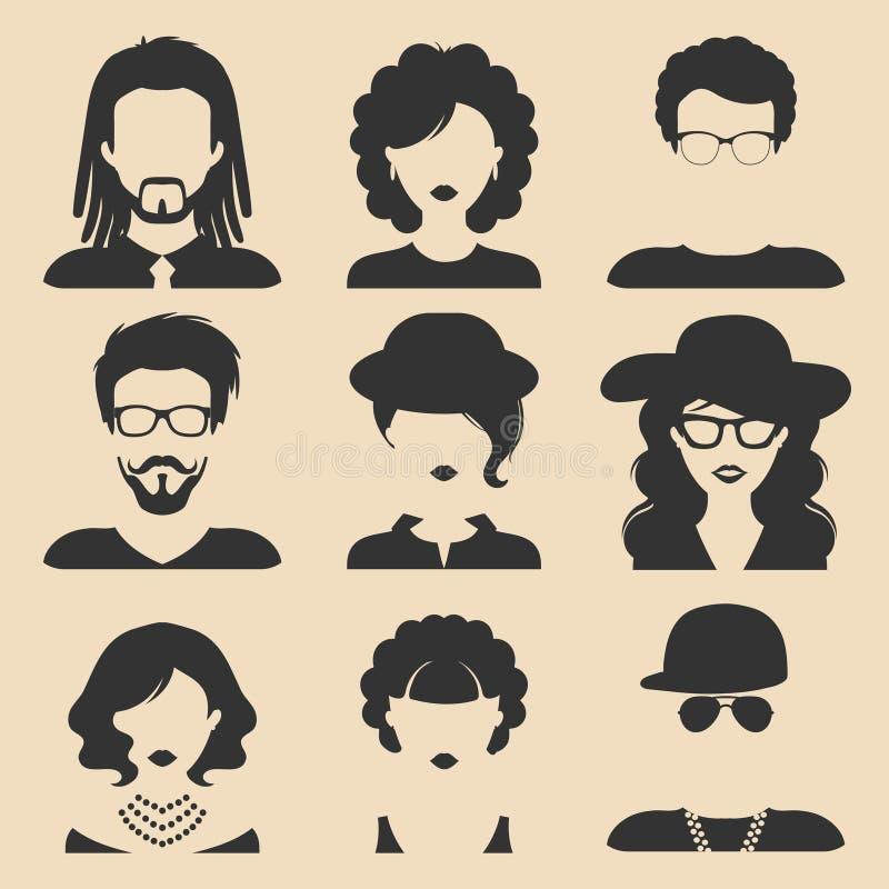 传染媒介套在时髦平的样式的不同的男性和女性象 人面孔或头 皇族释放例证