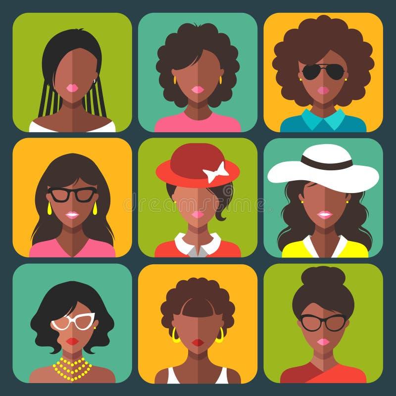 传染媒介套在时髦平的样式的不同的非裔美国人的妇女app象 皇族释放例证