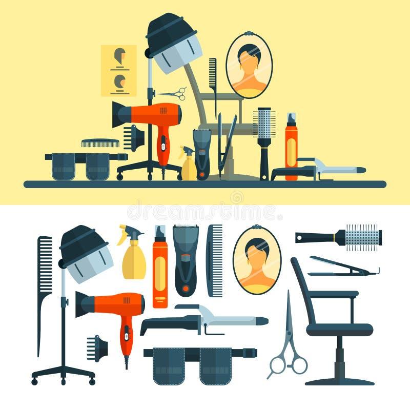 传染媒介套在白色背景和工具隔绝的美发师对象 皇族释放例证