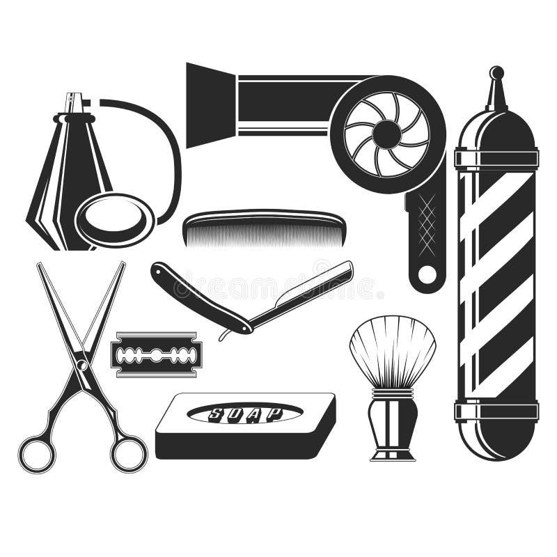 传染媒介套在葡萄酒样式的发廊元素 头发切开了秀丽和理发店,剪刀,刀片,梳子,肥皂,理发师 库存例证