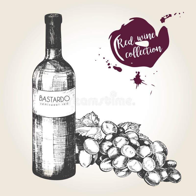 传染媒介套在葡萄酒样式的红葡萄酒 瓶、玻璃和葡萄 餐馆的,咖啡馆,商店,食物,菜单,设计用途 皇族释放例证