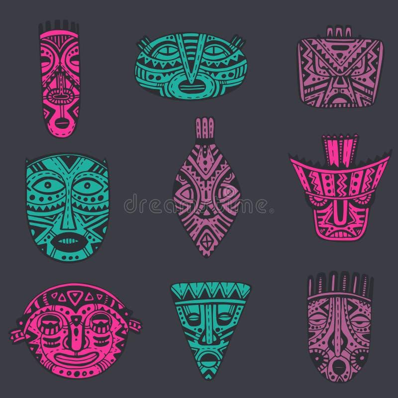 Download 传染媒介套在非洲样式的手拉的花梢面具 向量例证. 插画 包括有 例证, 人力, 设计, 收集, 薄菏, 天真 - 62529420
