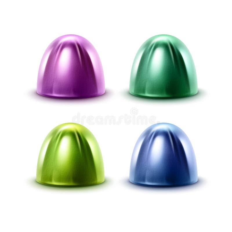 传染媒介套在紫罗兰色青绿的光滑的箔封皮关闭的现实巧克力糖在白色背景 库存例证