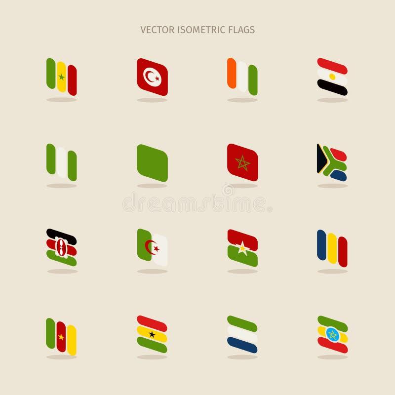 传染媒介套塞内加尔,突尼斯,彻特的等量非洲旗子 向量例证