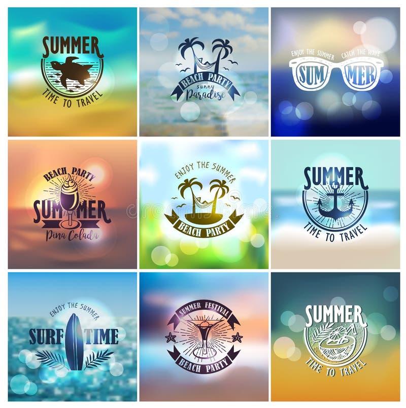传染媒介套夏天旅行和假期设计 库存例证
