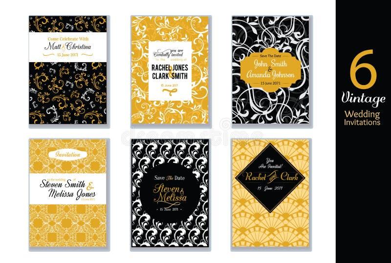 传染媒介套婚礼与黑色、白色和金黄色抽象时髦样式的邀请卡片 伟大为典雅 向量例证