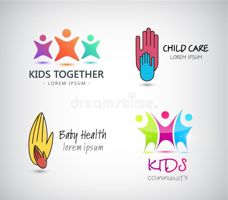 传染媒介套孩子商标,支持,孩子关心  向量例证