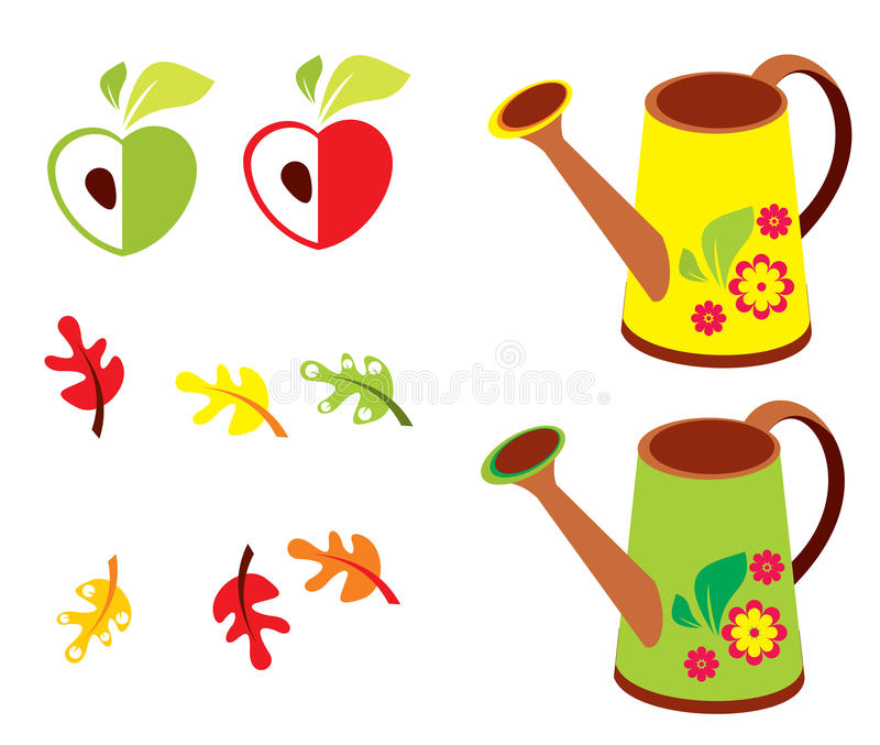 传染媒介套庭院- polyroll、苹果和橡木叶子 皇族释放例证