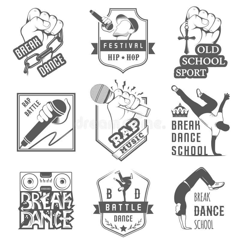 传染媒介套徽章、商标和标志霹雳舞 向量例证