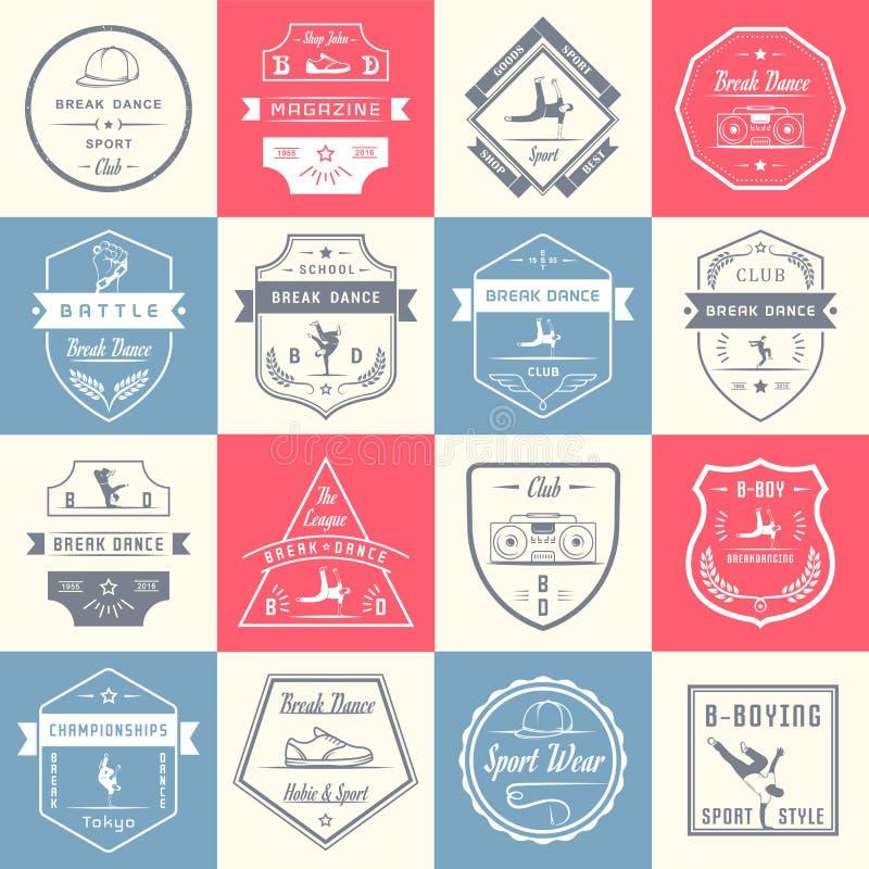 传染媒介套徽章、商标和标志霹雳舞 皇族释放例证