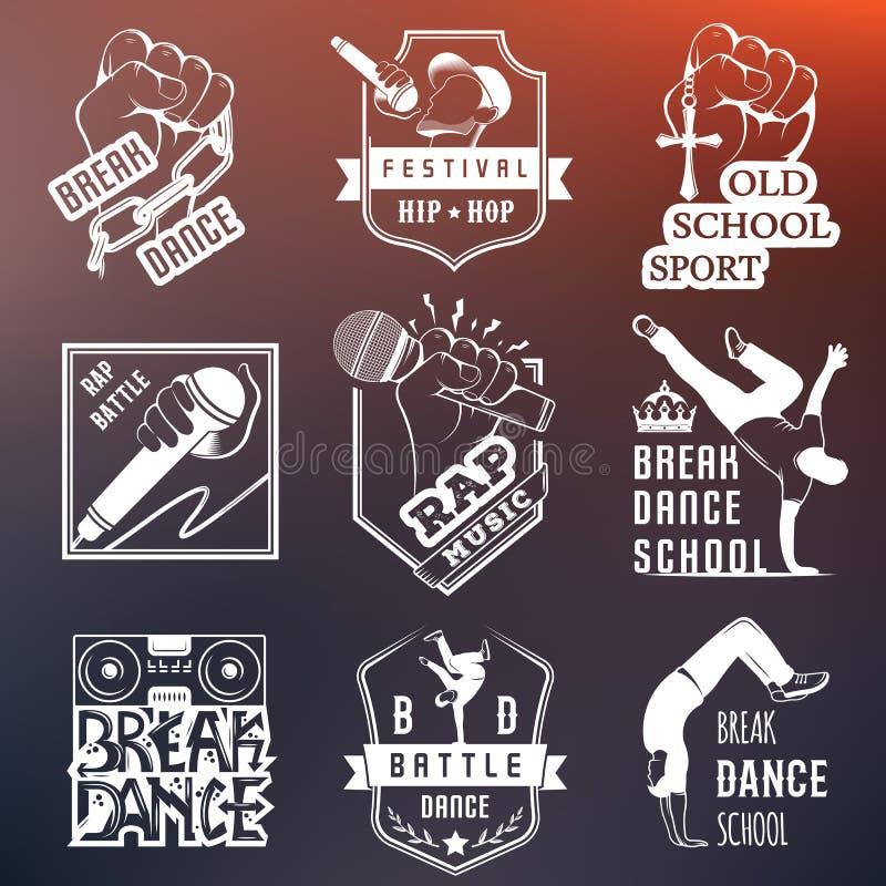 传染媒介套徽章、商标和标志霹雳舞 库存例证