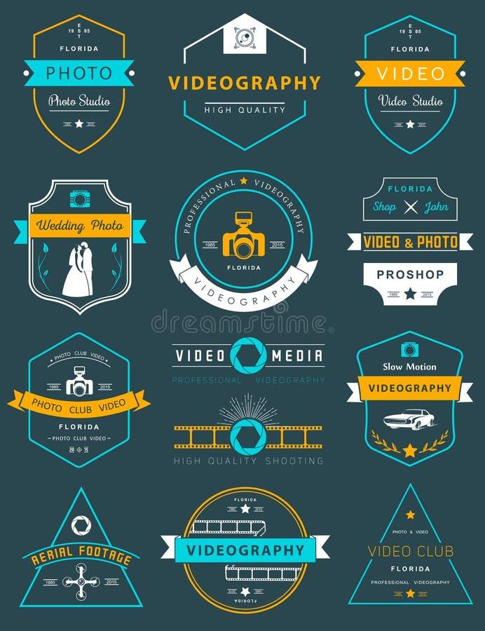 传染媒介套徽章摄影和电视录象制作 向量例证