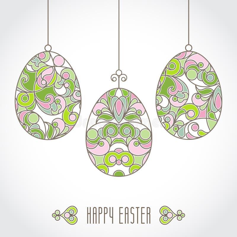 传染媒介套您的复活节设计的淡色装饰鸡蛋 库存例证