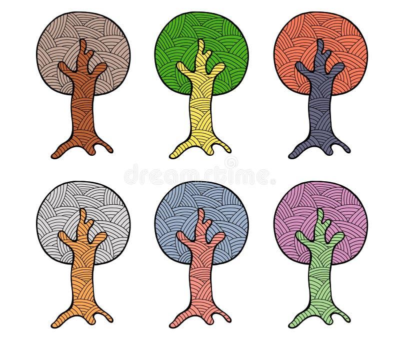 传染媒介套手拉的例证,装饰装饰风格化树 在白色backgroun隔绝的图表例证 皇族释放例证