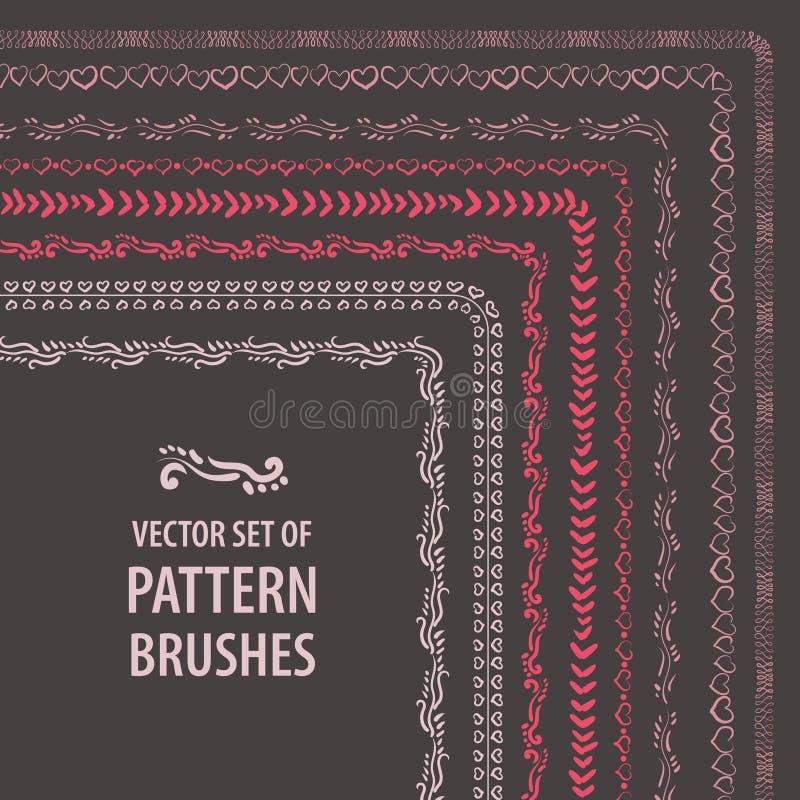 传染媒介套手拉的刷子 不同的颜色的装饰元素框架、边界和设计的 向量例证