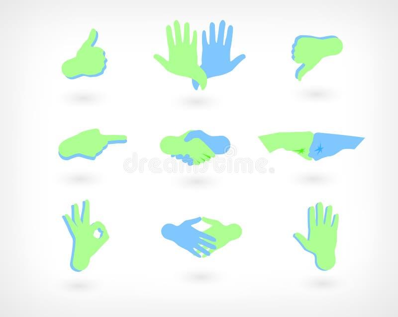 传染媒介套手象:象,反感、握手,好姿态和其他 截去例证路径向量万维网的按钮 向量例证