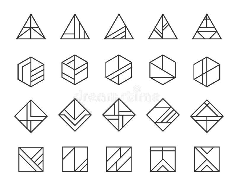 传染媒介套抽象线性行家商标 几何象,身分,邮票,标志 向量例证