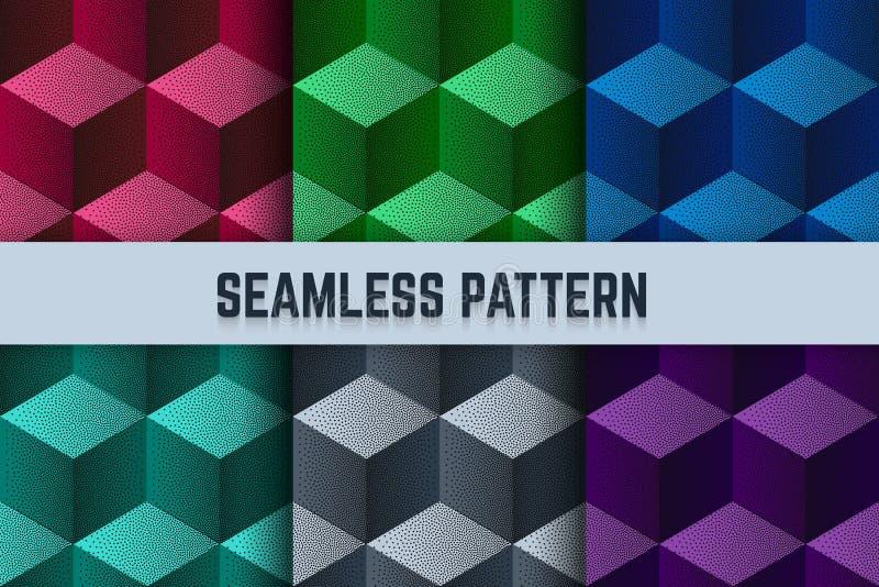 传染媒介套无缝的样式 等量立方体加点了不同的颜色 皇族释放例证