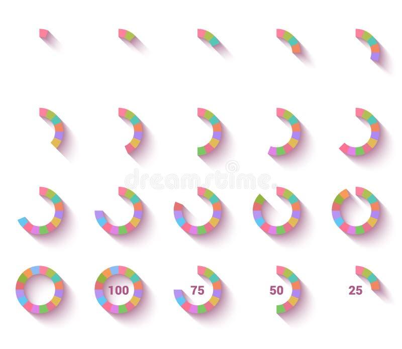 传染媒介套明亮地色的圆图 库存例证