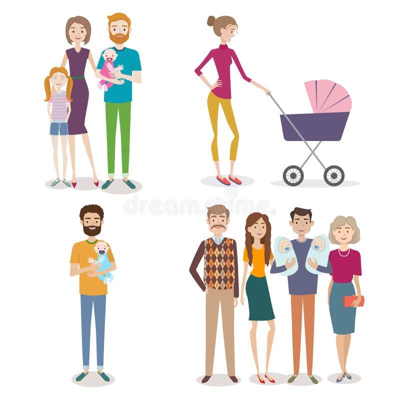 传染媒介套有家庭和孩子的人在backgro 库存例证
