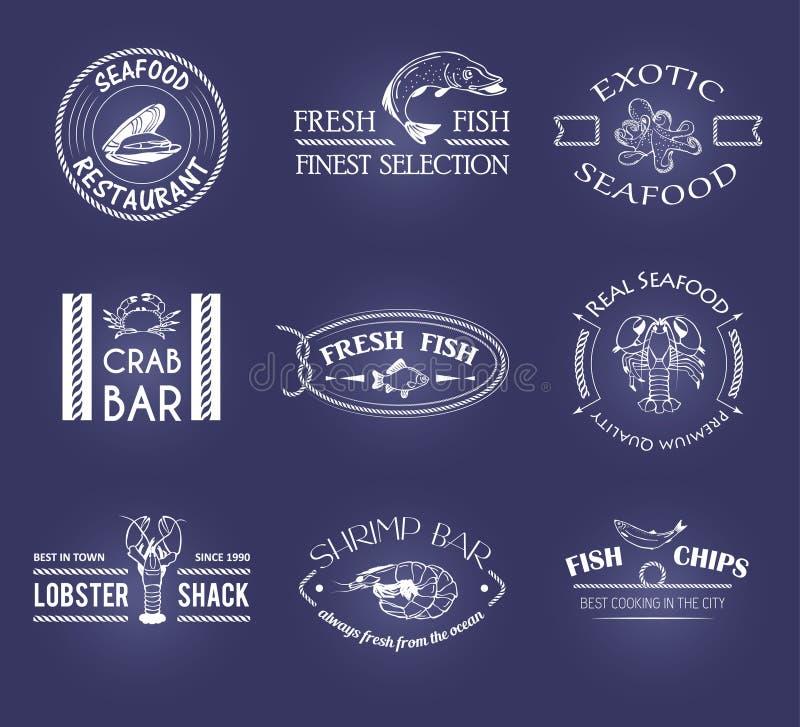 传染媒介套样式海鲜标签 向量例证
