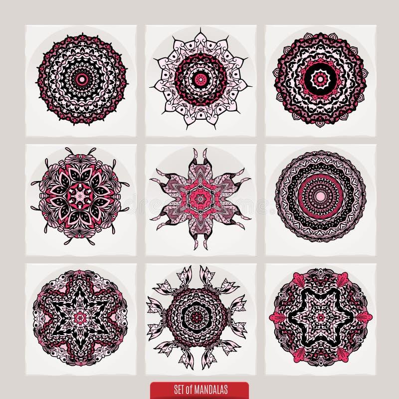 传染媒介套根据传统亚洲装饰品的无刺指甲花花卉元素 佩兹利Mehndi乱画汇集 皇族释放例证