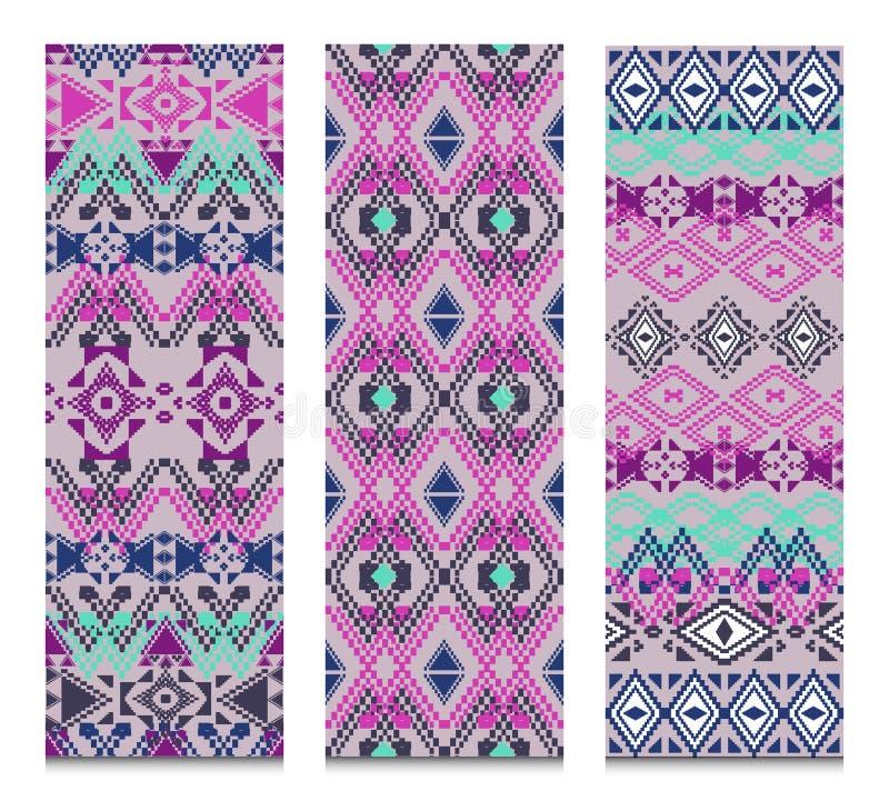 传染媒介套横幅或卡片与部族装饰样式 阿兹台克装饰样式 库存例证
