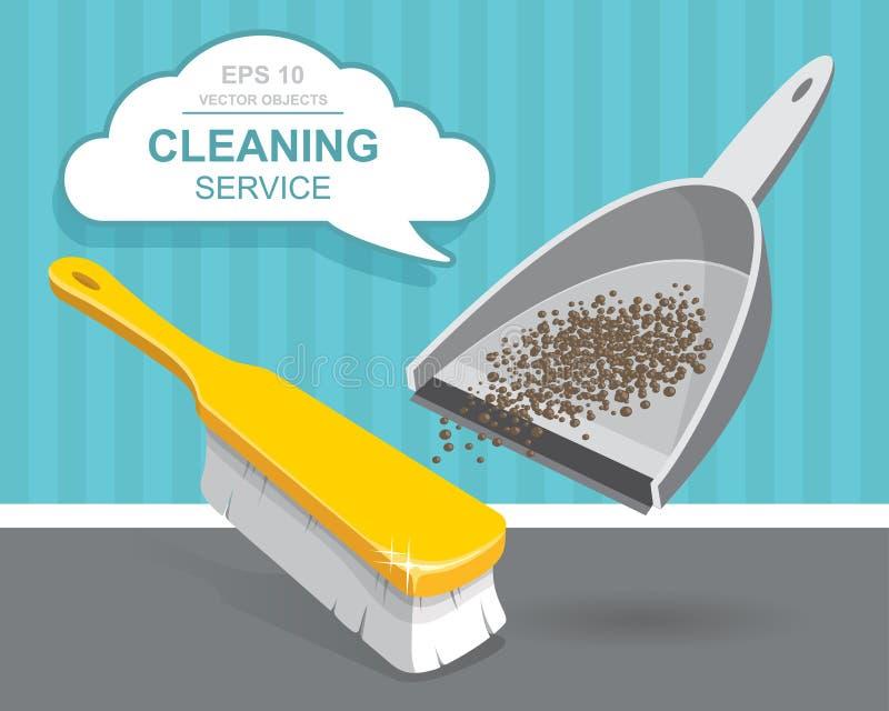 传染媒介套清洁服务元素 擦净剂 背景清洁布新的橙色海绵用品 家事工具,议院清洁 垃圾、簸箕和刷子 库存例证