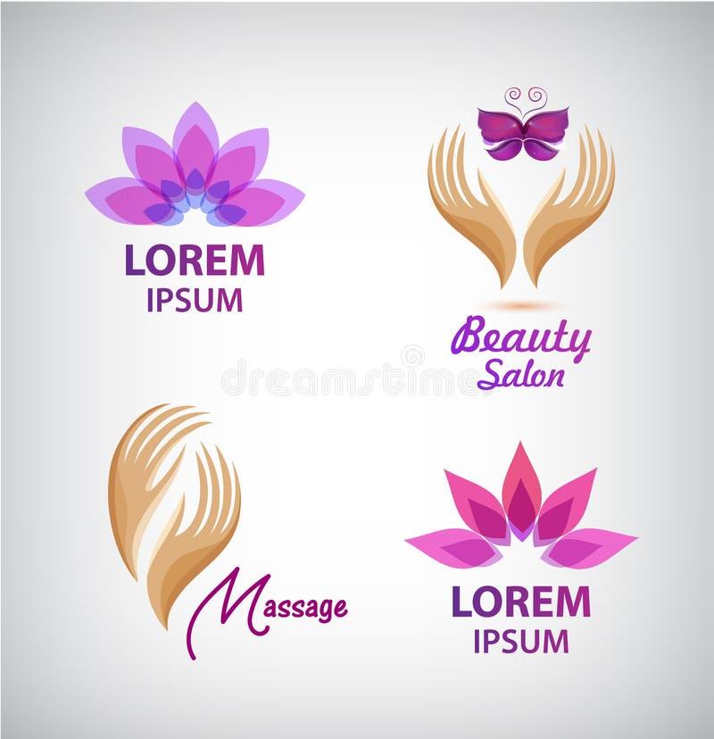 传染媒介套温泉商标 莲花,按摩,有蝴蝶沙龙象的,标志手 向量例证