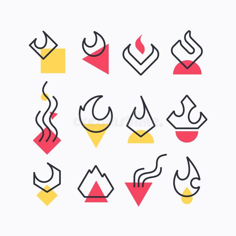 传染媒介套火焰和火标志 库存例证