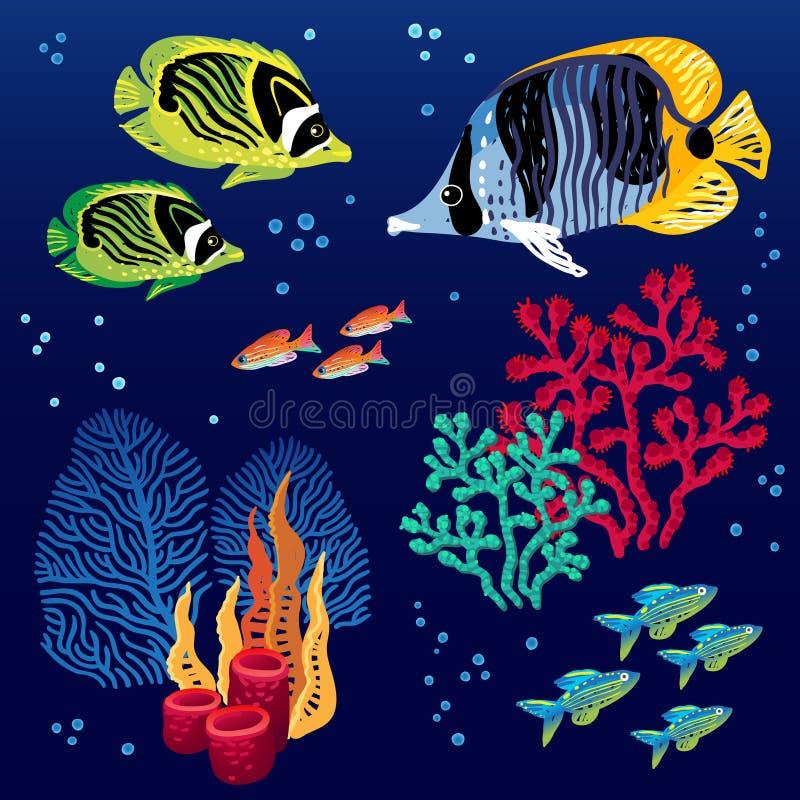 download 传染媒介套热带鱼 向量例证.图片