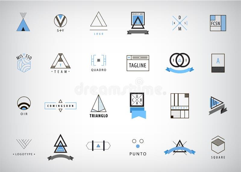 传染媒介套现代和最小的概述商标,几何-正方形,圈子,三角 库存例证