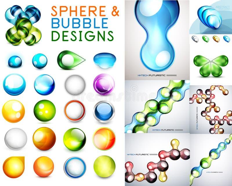 传染媒介套球形和泡影设计 库存例证