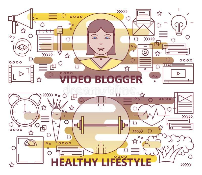 传染媒介套稀薄的线录影博客作者,健康生活方式横幅 库存例证