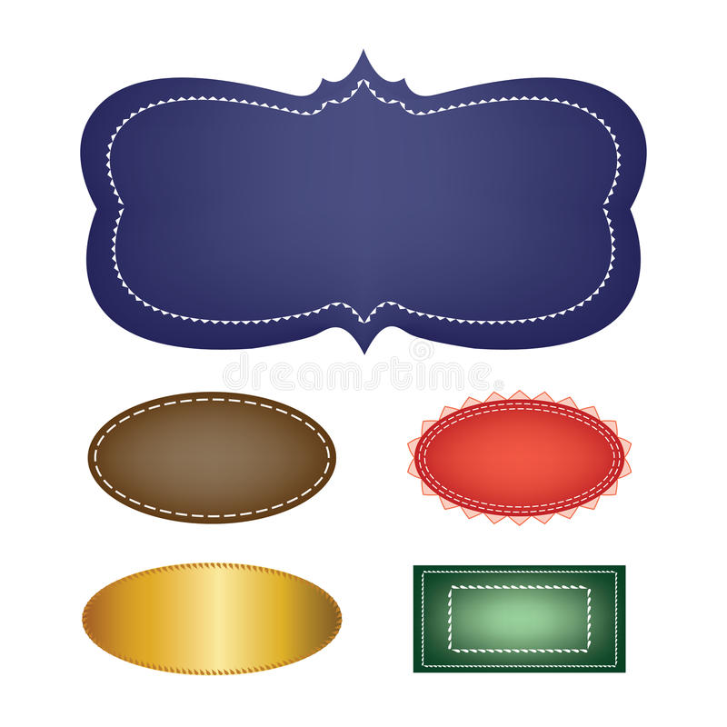 传染媒介套空白的标签、各种各样的颜色和形状与边界 向量例证